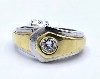 Men's 18K White & Yellow Gold Two Tone .50 CT Diamond Solitaire Chunky Statement Band Ring