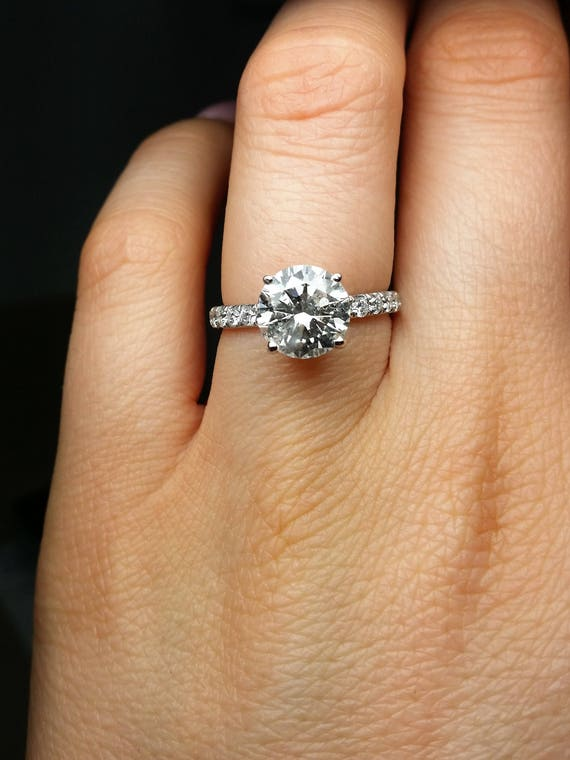 Inexpensive Real 2 71 Cts Round Cut Diamond Engagement Ring Etsy