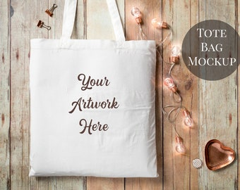 Download Free Tote Bag mockup - rose gold lights - mockup photo - JPG and PSD files PSD Template