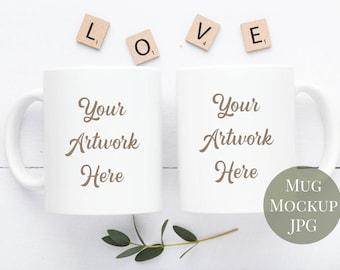 Download Free Two mug mockup - Neutral colors - love -JPG file PSD Template