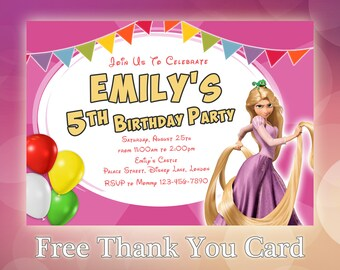 Rapunzel Invitation Birthday Party Invite Disney Princess Tangled TG04