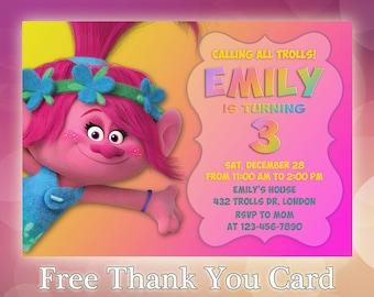 Trolls Birthday Invitation Party Invites Custom TR06