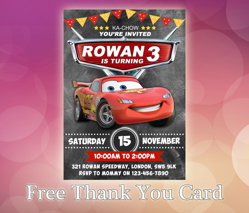 Disney Cars Invitations Birthday Invitation