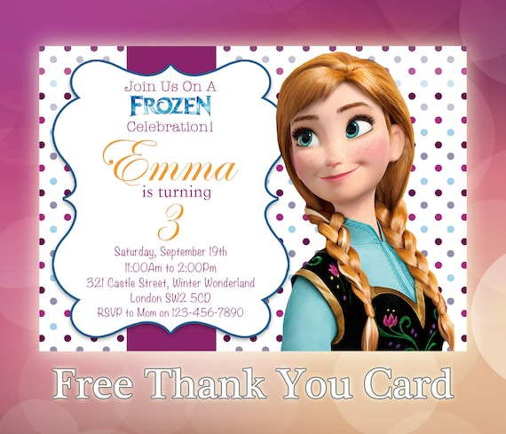 frozen birthday invitation anna frozen invitation printable etsy