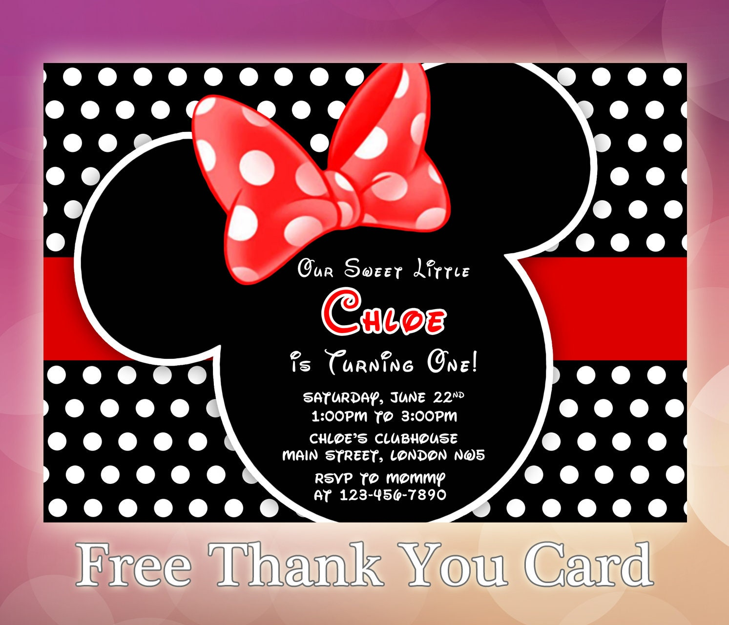 Minnie Mouse Invitation / Minnie Mouse Invite / Minnie Mouse | Etsy