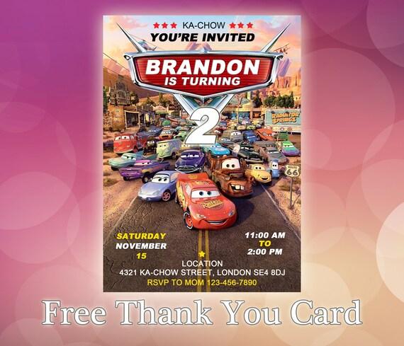 Disney Cars Invitaciones Invitación De Cumpleaños De Cars De Disney Disney Cars Fiesta Tarjeta De Invitación De Cumpleaños Cars Coches
