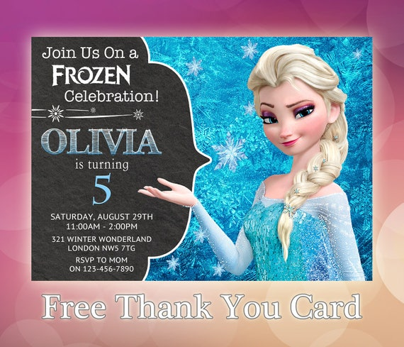 photo regarding Frozen Birthday Card Printable called Frozen Birthday Invitation / Elsa Frozen Invitation Printable / Disney Frozen Invitation / Disney Frozen Invitations / Snow Queen Elsa / FZ03