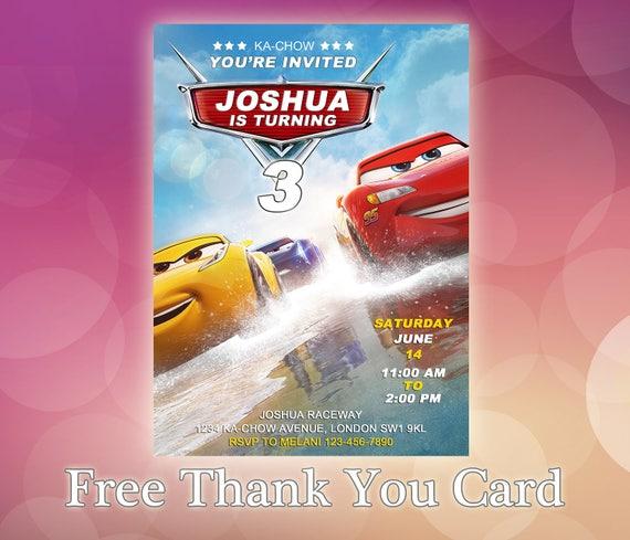 photograph about Disney Cars Birthday Invitations Printable Free titled Disney Vehicles Invites / Disney Automobiles Birthday Invitation / Disney Vehicles Bash / Autos Birthday Invitation Card / Autos Invitation / CR18