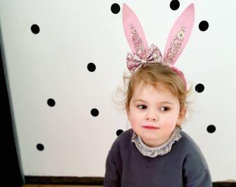 Bunny ears- Bunny Rabbit ears- Rabbit headbands- Bunny ears bow head band- floral headband - Peter rabbit