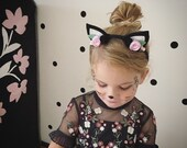 Black cat ears headband- halloween black cat ears- baby halloween cat ears headband- adult halloween cat ears headband- black cat felt ears