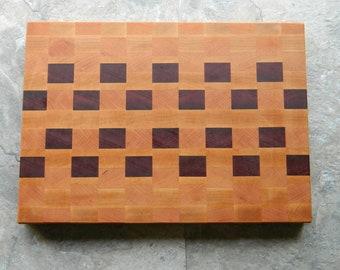 End Grain Cutting board, Purple Heart, Cherry, Maple