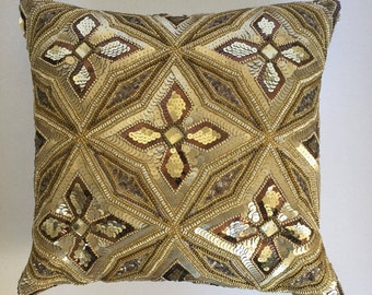 Hand embellished decorative pillow