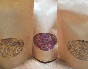 Bulk Herbs, Herbs by weight, Bulk Calendula, Rose Petals, Chamomile, German Chamomile, organic flower petals, medicinal flowers
