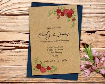 Floral Rose Printable Wedding Invitation Set
