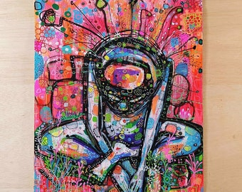 Original work made with acrylic markers and acrylic paint entitled Mar rosa.