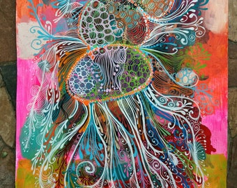 """Abstract painting done with poscas and acrylic painting titled """"connecting medusa"""""""