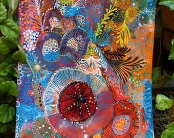 Decorative painting, intuitive art, painting made with poscas and acrylic painting titled 'Spin'