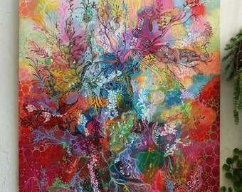 """Abstract painting done with poscas and acrylic painting titled """"connect"""""""