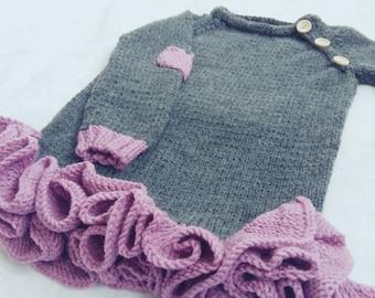 Knit girl dress, warm girl dress, winter dress, handmade dress, baby wool dress, baby knit ware, gifts for baby girl, long sleeve dress