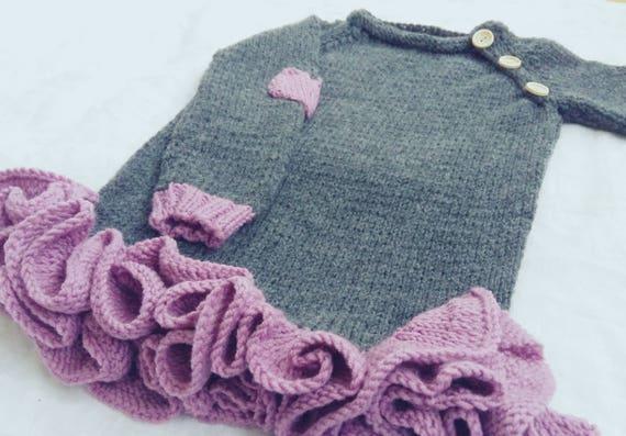 b861a05ed207 Knit dress for girl warm handmaded dress spring wearing
