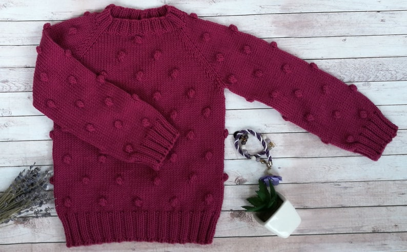7bc7ff64b1c4 Knit baby sweater popcorn sweater red sweater sweater for