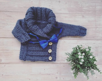 Knitted baby sweater, baby jumper, pullover sweater, knit cardigan, decorated button jumper, high neck sweater, wool knitwear, baby jacket
