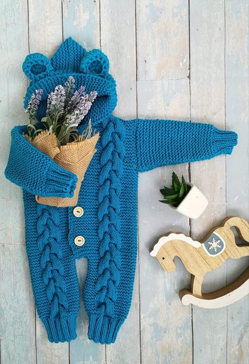 289a33b0c9b Knit baby overall handmade newborn romper merino pants baby