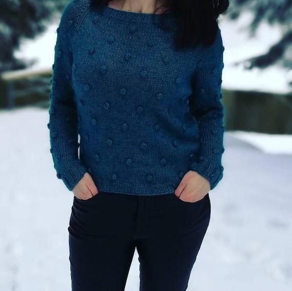Popcorn maglione maglia per donna a mano a maglia maglione  0f016a06cd2