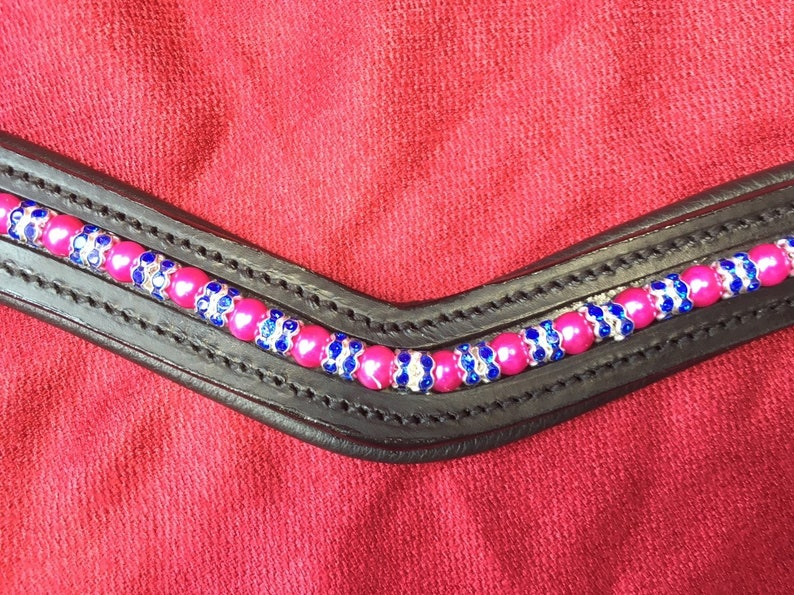 Pink Floyd Horse Browband Pink Pearls with Royal Blue Crystal Rondelles on Softly Padded Black or Brown Leather