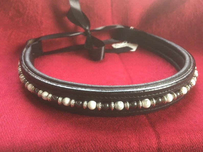 Howlite white and Hematite with silver spacer on softly padded black or brown leather. Horse Browband Sophisticated Dreams