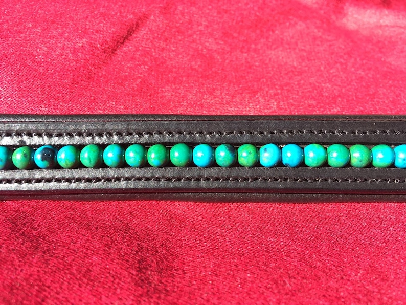 Chrysocolla Gemstone Horse Browband Green  Blue on Softly Padded Black or Brown Leather Jade Jewel