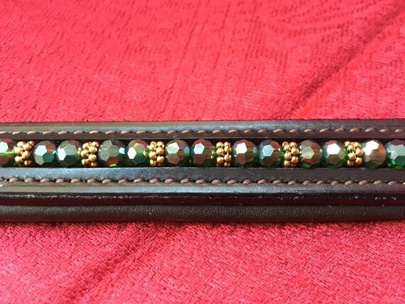 Horse Browband Blue Ombre Various shades of white to blue pearls in an ombre effect on softly padded black or brown leather