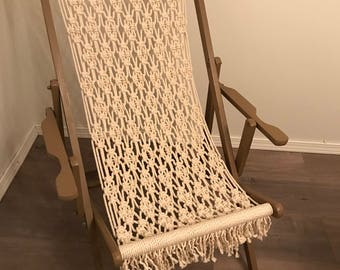 LOCAL PICKUP ONLY- Macrame Seat Sling Back/Beach Chair