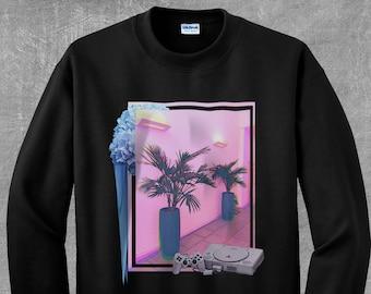 Vaporwave AESTHETIC བརད་  Miami Playstation Glitch Palm Tree Tropical Flowers Skate Playstation PS1 Tumblr Instagram Sweatshirt