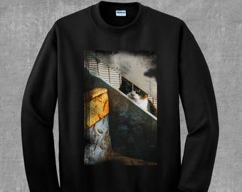 Grunge Cat called Hawkeye Skateboarding Skater Kitty Vaporwave Trash Trap Sweatshirt
