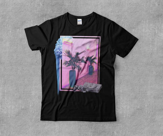 བརད Miami Playstation Glitch Palm Tree Tropical Tumblr   Etsy 0cbba63c8e