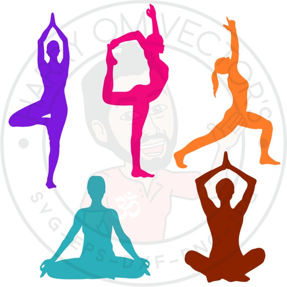 Yoga Silhouettes Vectors Svg Dxf For Silhouette Cameo Or Etsy