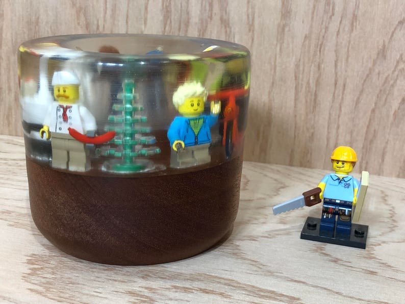 Lego Minifigure Bowl made from resin and mahogany