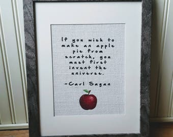 Carl Sagans Quote Burlap, Carl Sagan Print, Carl Sagan Wall Art, Apple Pie Sign, Science Gift, Science Decor, Kitchen Decor, Geek Gift
