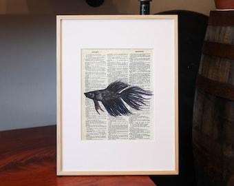 Betta Fish Vintage Dictionary Print, Watercolor Art, Betta Fish Art, Beta Fish, Siamese Fighting Fish, Original Watercolor, Purple Fish