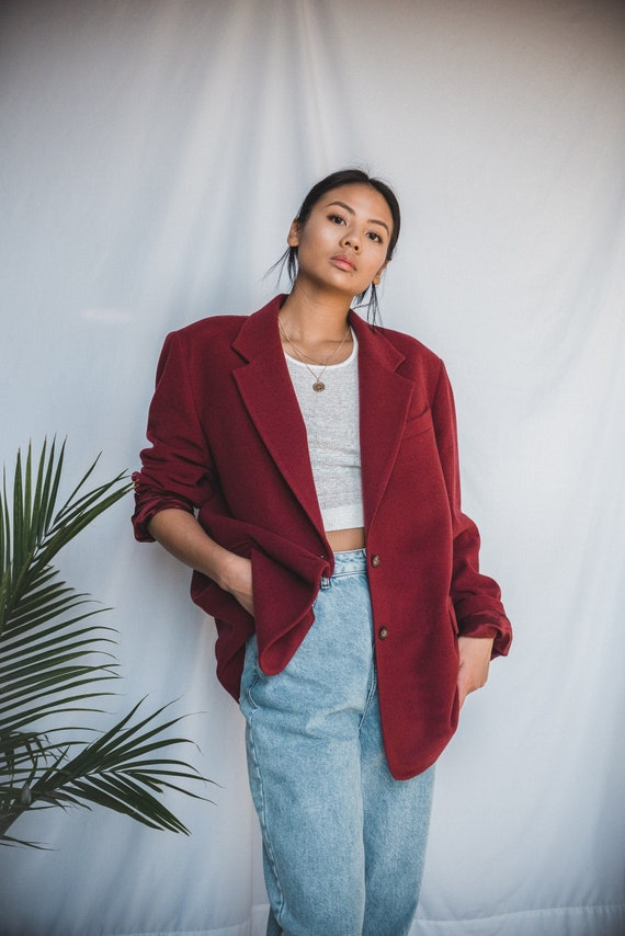 Autumn Red Maroon Wool Oversized Blazer | Women's