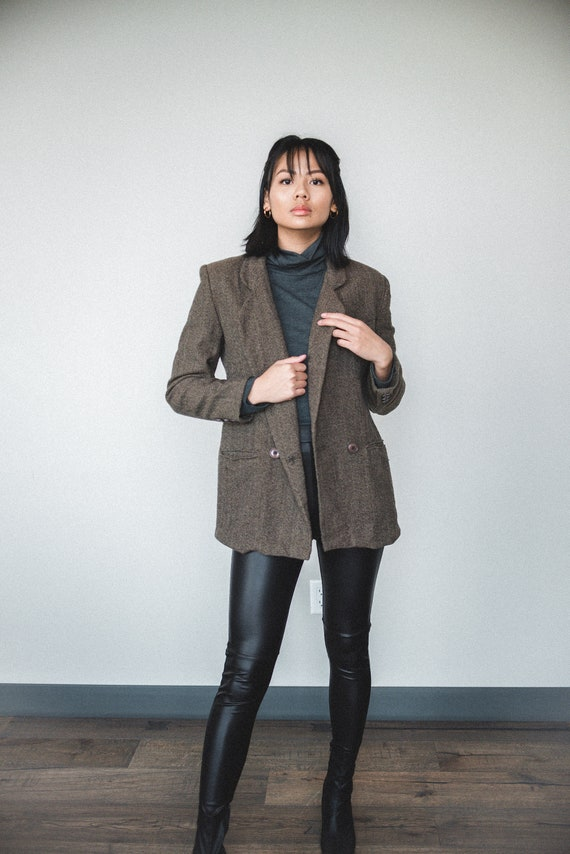 Brown Wool Oversized Blazer | Women's Vintage Ove… - image 2
