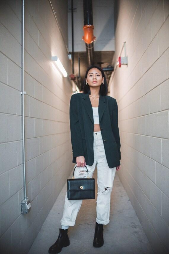 Forest Green Wool Oversized Blazer | Women's Vinta