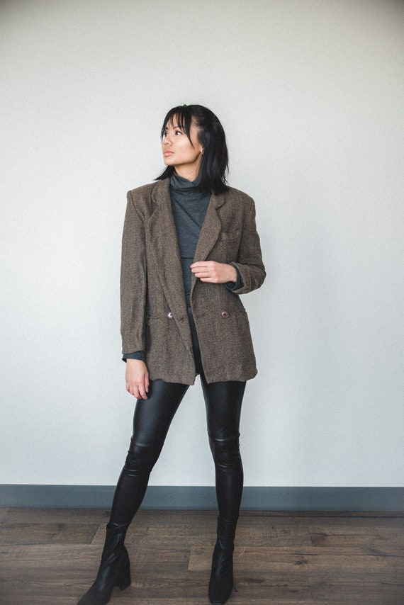 Brown Wool Oversized Blazer | Women's Vintage Ove… - image 1