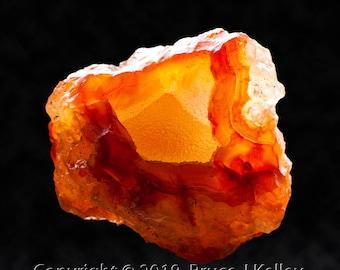 Framed Mineral Micro-Photo - Orange Carnelian Agate