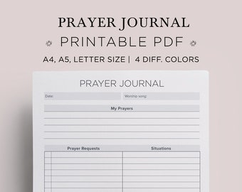 Prayer Journal Daily Devotional Gratitude Bible Journaling Printable A4 A5 Planner Inserts Legal Size