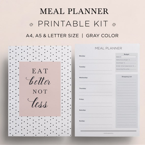 2018 meal planner grocery list shopping list meal plan etsy