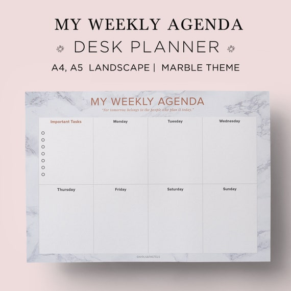 Marble Weekly Desk Planner Printable 2019 Weekly Etsy