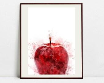 Apple Watercolor Art Print, Apple Illustration, Kitchen Wall art, Kitchen Wall Decor, Fruit Print