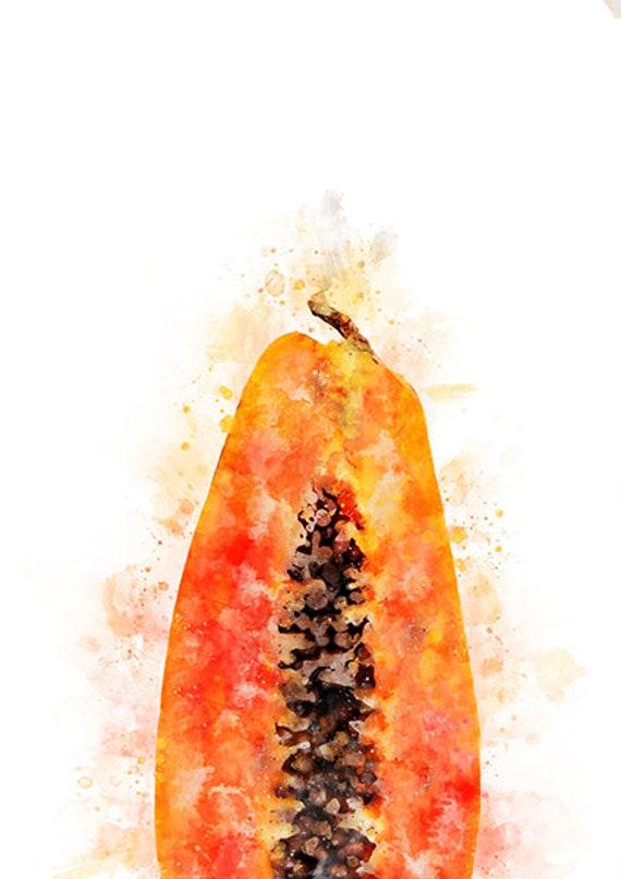 Papaya Watercolor Art Print Papaya Illustration Kitchen Wall Etsy